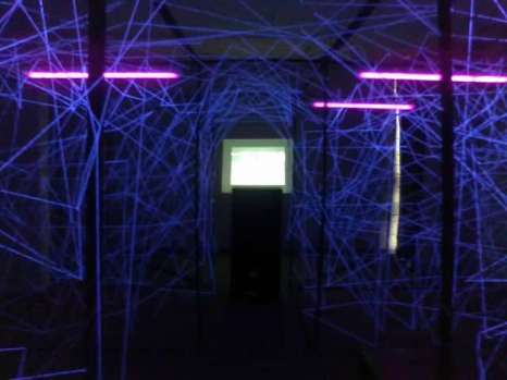 Mixed Media 2013, Duo Exhibition with Niina Turtola, 'Love Matters Down the Rabbit Hole', National Art Gallery of Namibia, Windhoek, Namibia. Mixed Media Installation String, Light, Video, Sound. 5mx3mx2m