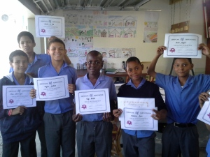 Friendly Haven Kids receiving certificates