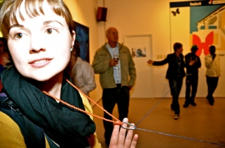 2012, Participatory Performance 'Connections', Goethe-Centre Auditorium, Windhoek, Namibia. Audience at my exhibition were connected with string.