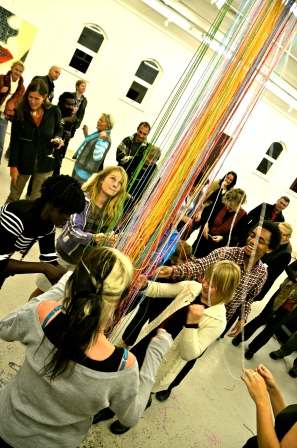 2012, 'Concious Connections', Goethe Centre Auditorium, Windhoek, Namibia. This performance art symbolises the fragile nature of the connections between people.