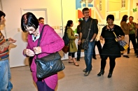 2012, 'Connections', Goethe-Centre Auditorium, Windhoek, Namibia. Audience at my exhibition were connected with string.