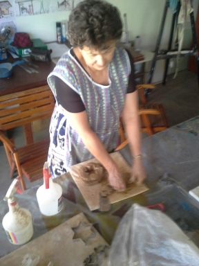 Margie creating first star candle moulds