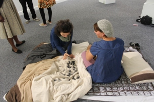 This is a live, interactive performance art piece. There are 169 personal memories about beds and mattresses that I recorded as a catalogue. I made corresponding tags from clay and recorded the 169 numbers from the catalogue on them. The audience was allowed to chose a memory tag and I would read the corresponding memory in the catalogue to them. Memories included: childhood memories until current.