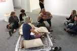 """2015, """"Archived Memories', National Art Gallery of Namibia, Windhoek, Namibia. This is a live, interactive performance art piece. There are 169 personal memories about beds and mattresses that I recorded as a catalogue. I made corresponding tags from clay and recorded the 169 numbers from the catalogue on them. The audience was allowed to chose a memory tag and I would read the corresponding memory in the catalogue to them. Memories included: childhood memories until current."""