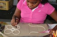 Yarn printing. Creating the design.